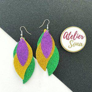 Mardi Gras Sparkly Dangling Earrings - Purple